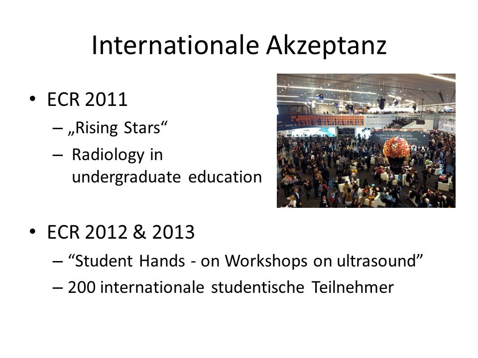 Internationale Akzeptanz