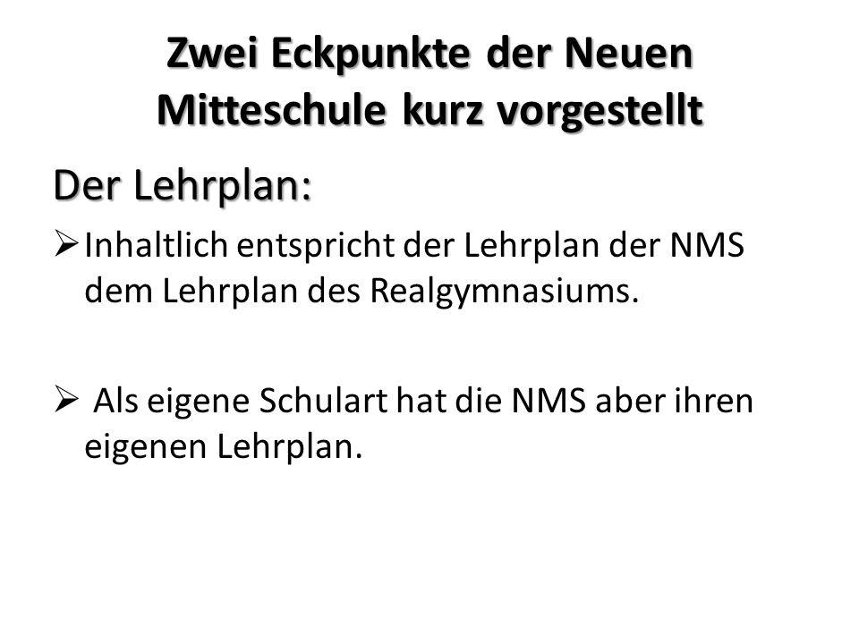 Zwei Eckpunkte der Neuen Mitteschule kurz vorgestellt