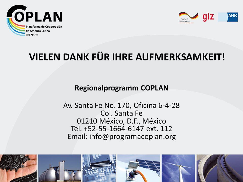 VIELEN DANK FÜR IHRE AUFMERKSAMKEIT! Regionalprogramm COPLAN