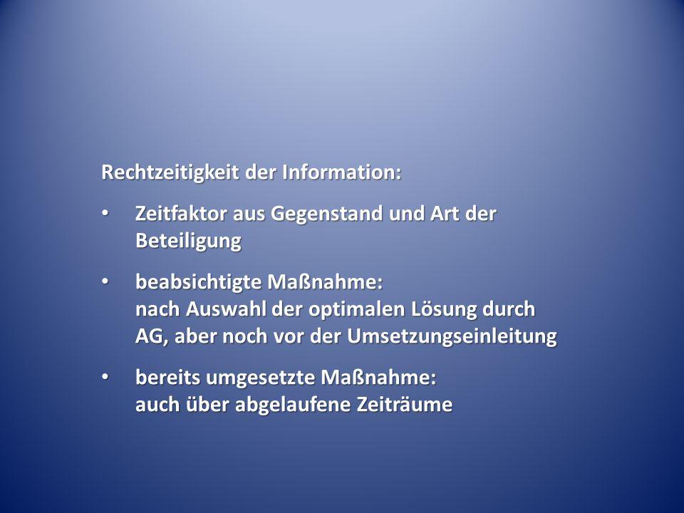 Rechtzeitigkeit der Information: