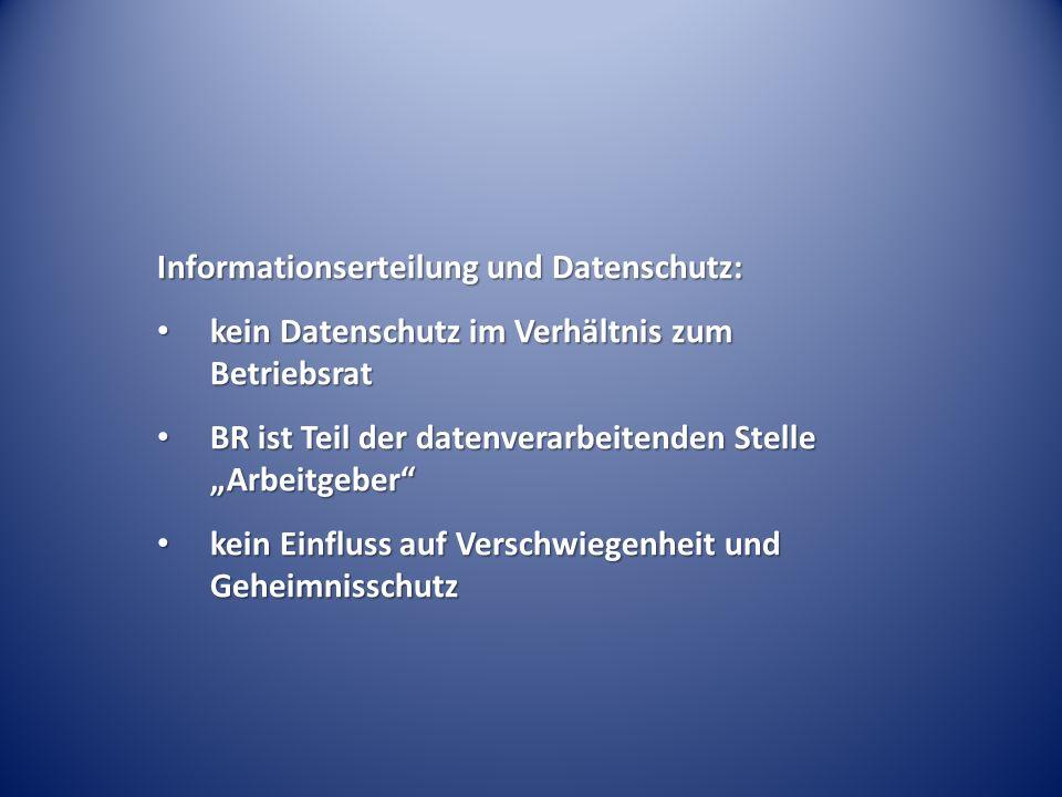 Informationserteilung und Datenschutz: