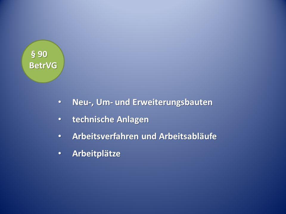 § 90 BetrVG Neu-, Um- und Erweiterungsbauten. technische Anlagen. Arbeitsverfahren und Arbeitsabläufe.