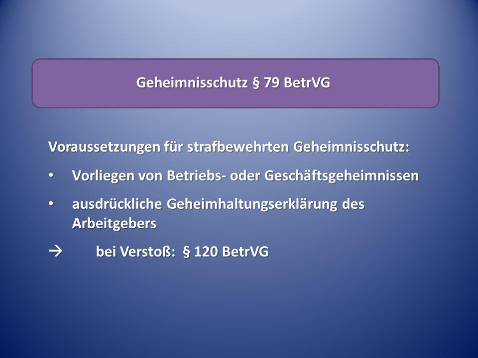 Geheimnisschutz § 79 BetrVG