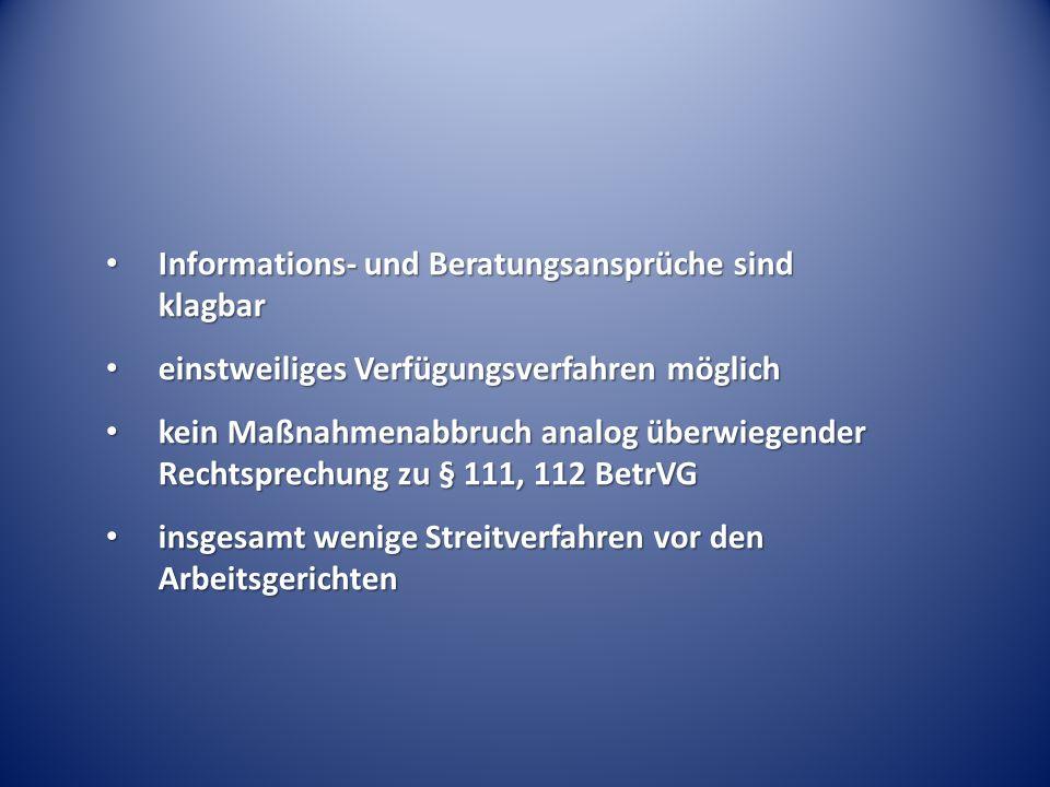 Informations- und Beratungsansprüche sind klagbar