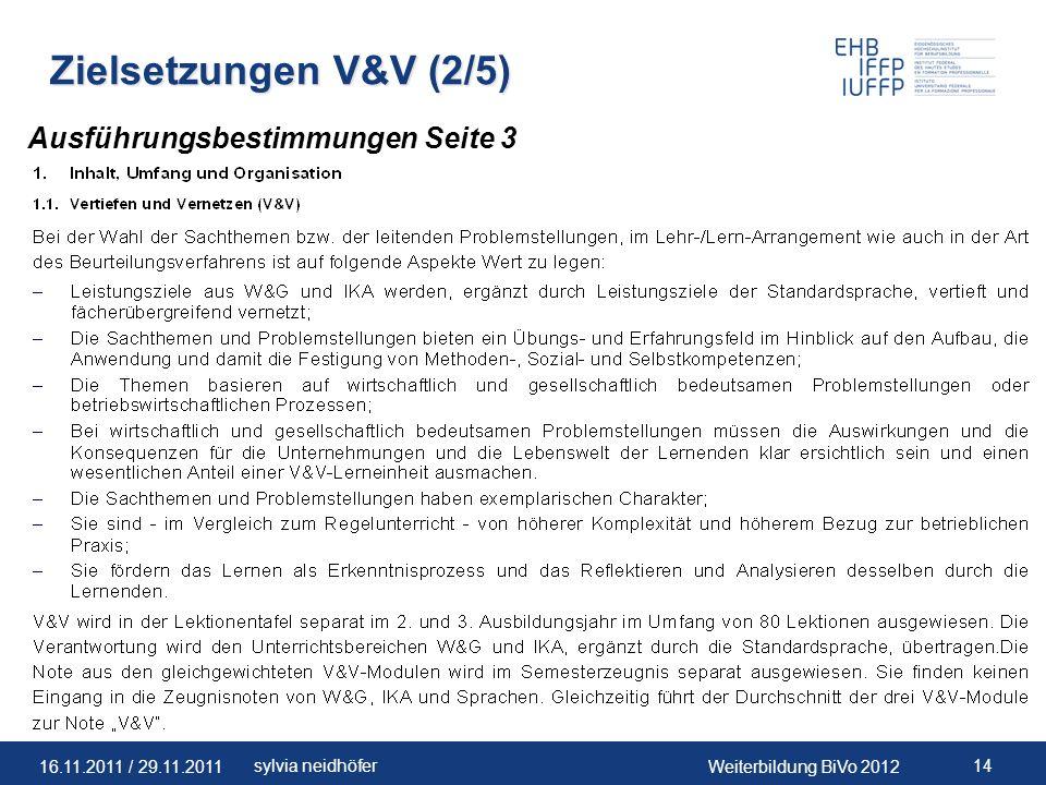 Zielsetzungen V&V (2/5) Ausführungsbestimmungen Seite 3