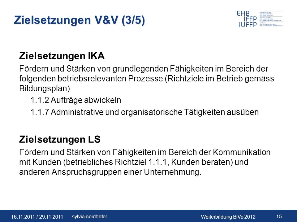 Zielsetzungen V&V (3/5) Zielsetzungen IKA Zielsetzungen LS