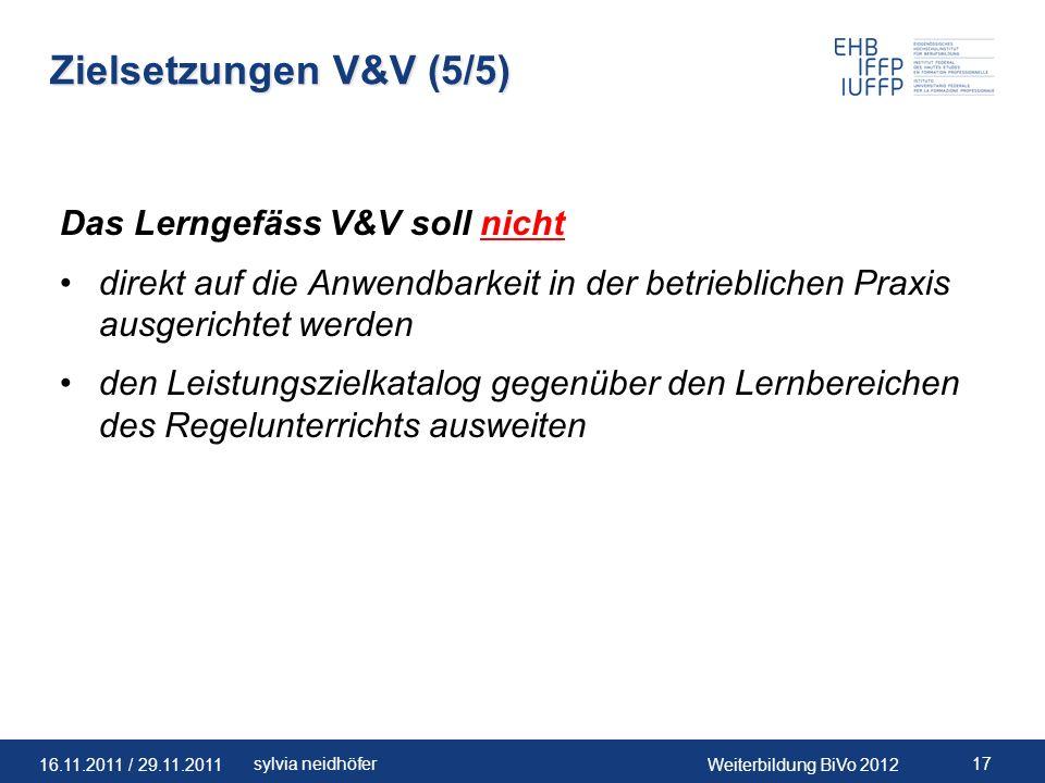Zielsetzungen V&V (5/5) Das Lerngefäss V&V soll nicht