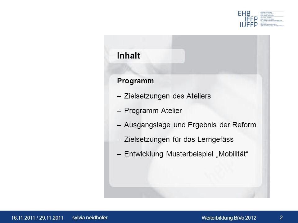 Inhalt Programm Zielsetzungen des Ateliers Programm Atelier