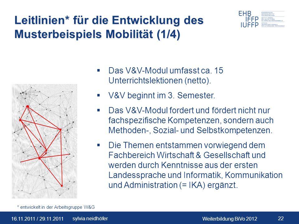 Leitlinien* für die Entwicklung des Musterbeispiels Mobilität (1/4)