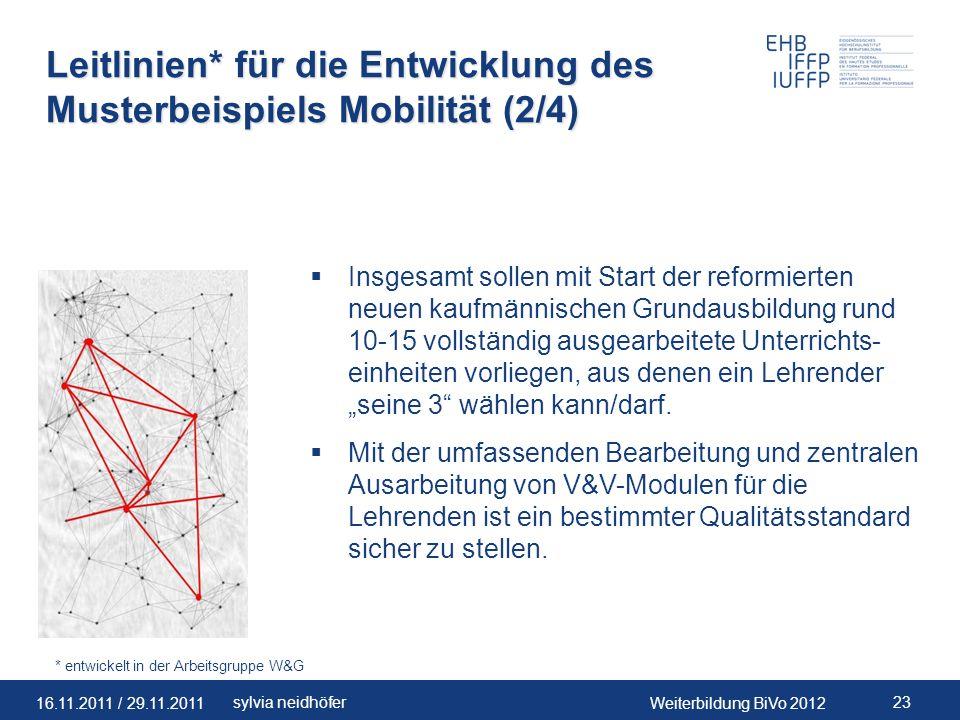 Leitlinien* für die Entwicklung des Musterbeispiels Mobilität (2/4)