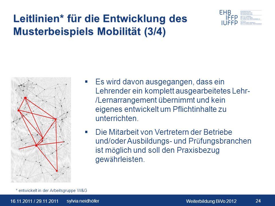 Leitlinien* für die Entwicklung des Musterbeispiels Mobilität (3/4)