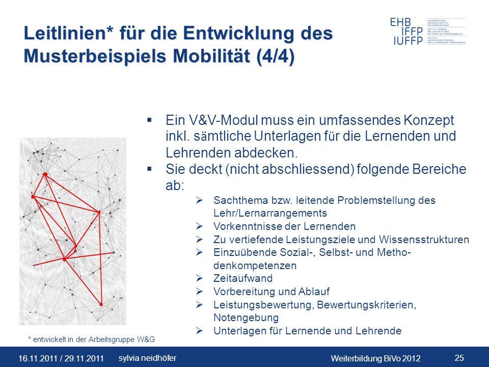 Leitlinien* für die Entwicklung des Musterbeispiels Mobilität (4/4)