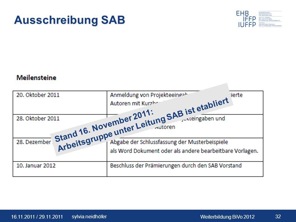 Ausschreibung SAB Arbeitsgruppe unter Leitung SAB ist etabliert