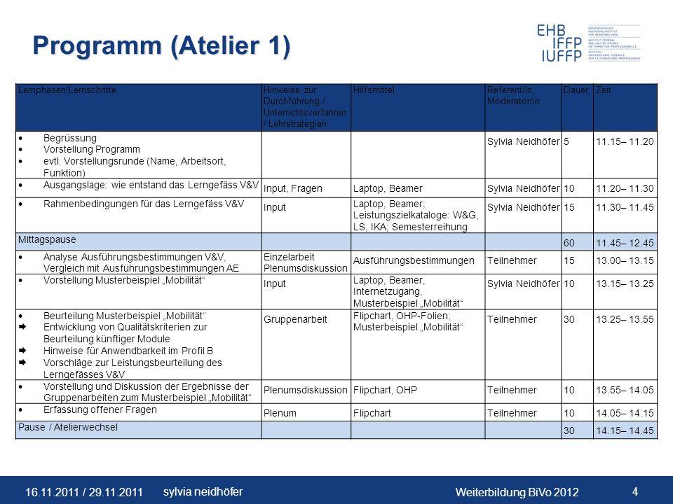 Programm (Atelier 1) Lernphasen/Lernschritte