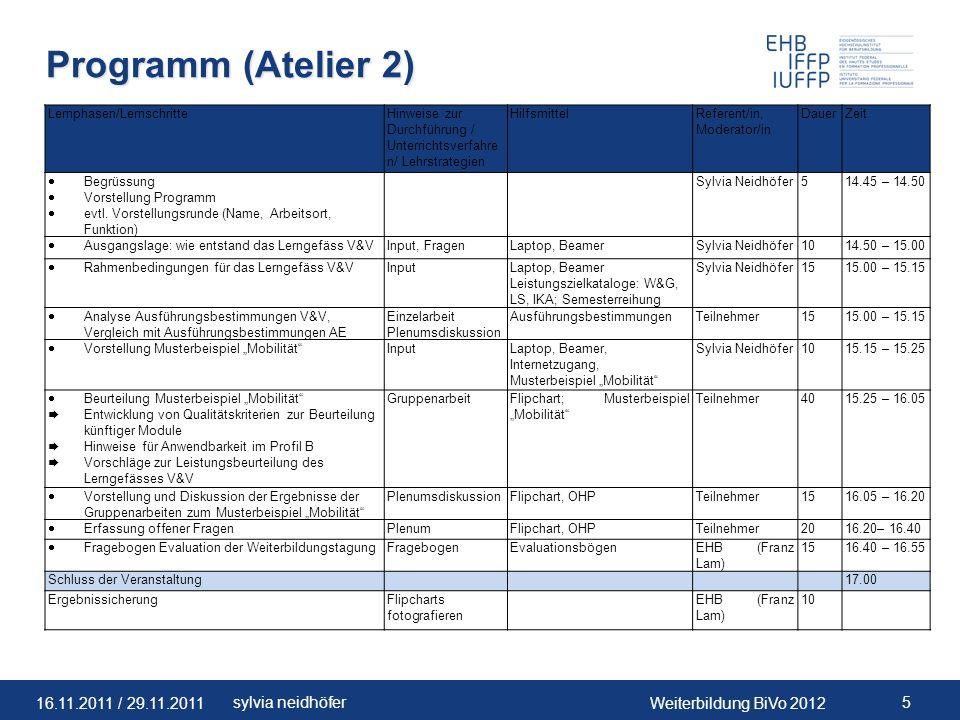 Programm (Atelier 2) Lernphasen/Lernschritte