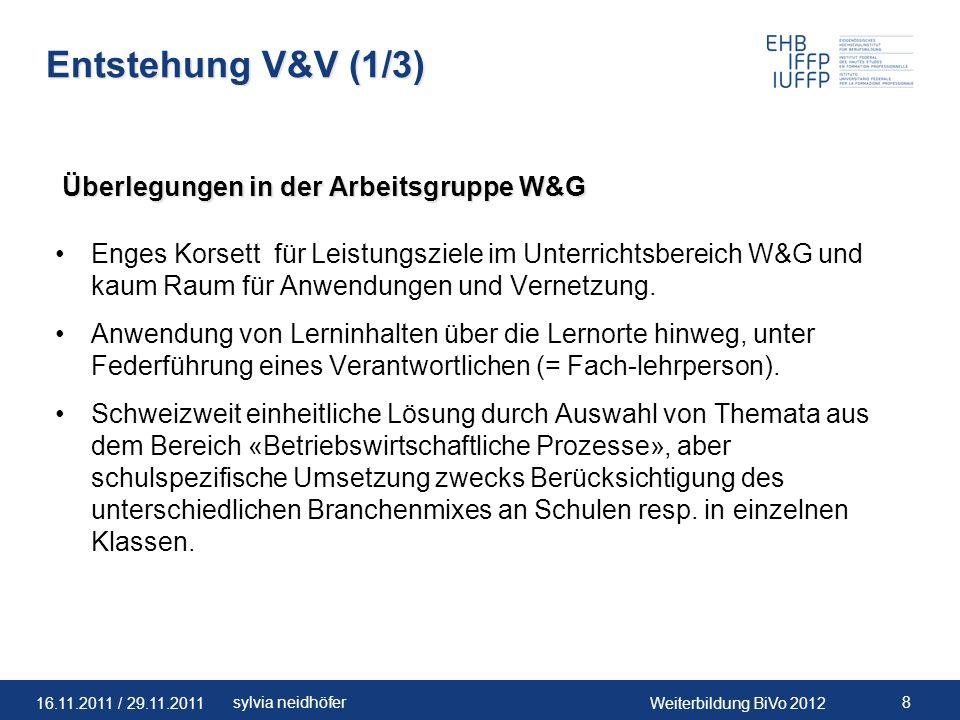 Entstehung V&V (1/3) Überlegungen in der Arbeitsgruppe W&G