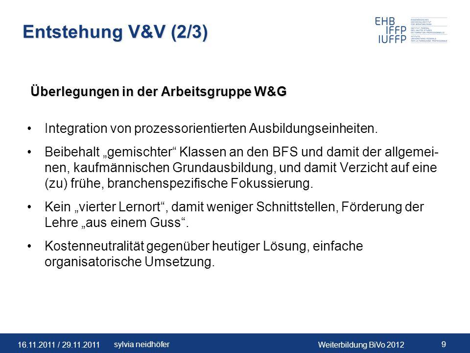 Entstehung V&V (2/3) Überlegungen in der Arbeitsgruppe W&G