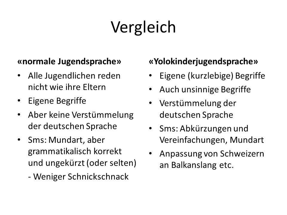 Vergleich «normale Jugendsprache» «Yolokinderjugendsprache»
