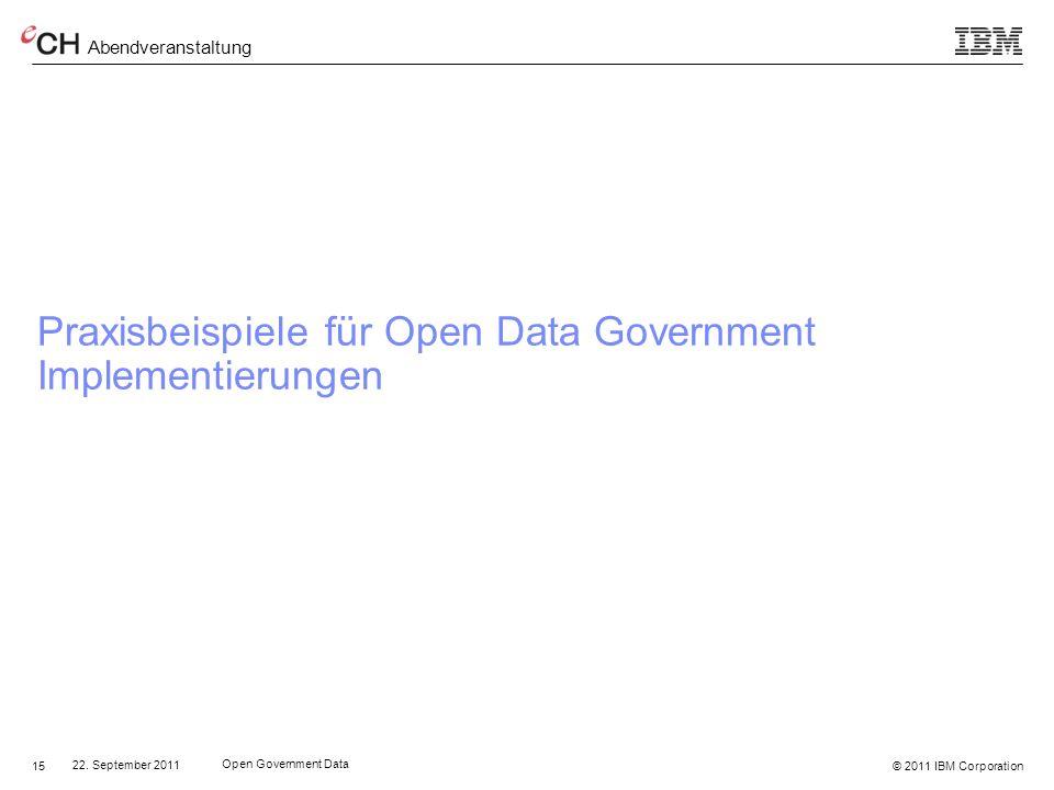 Praxisbeispiele für Open Data Government Implementierungen