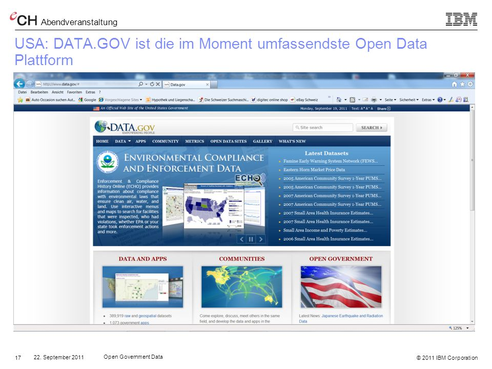 USA: DATA.GOV ist die im Moment umfassendste Open Data Plattform