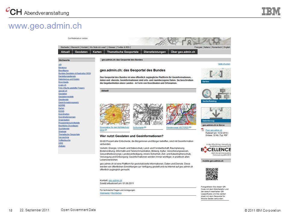 www.geo.admin.ch 22. September 2011 Open Government Data