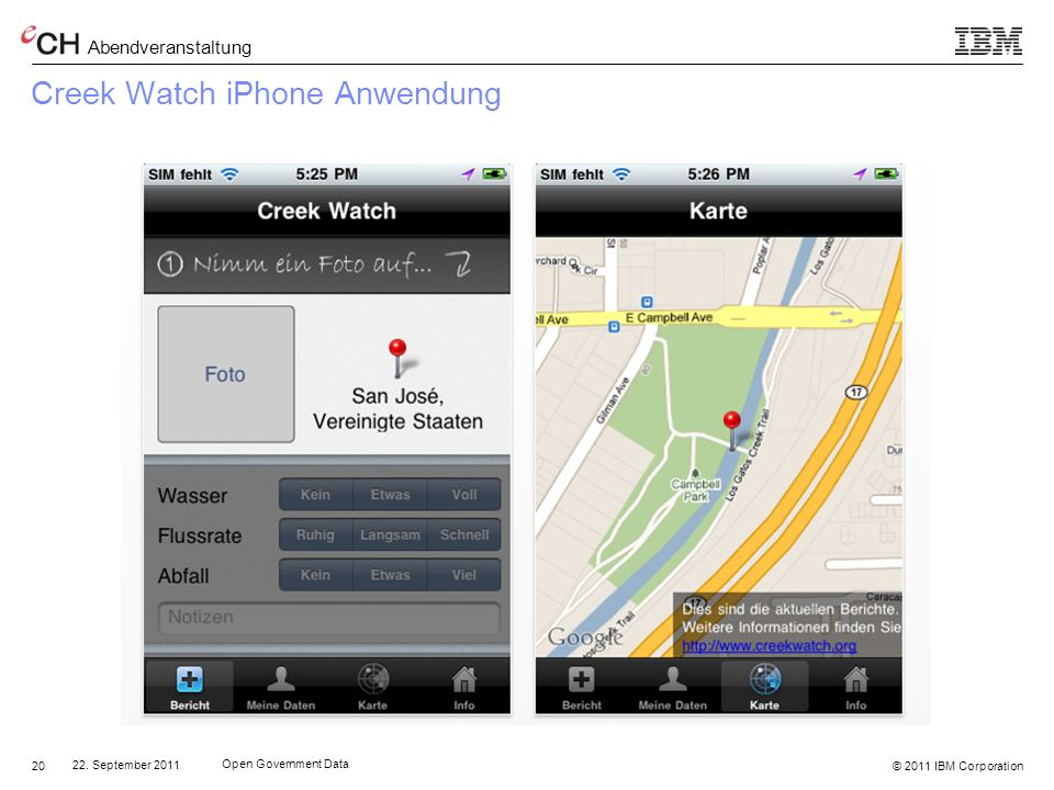 Creek Watch iPhone Anwendung