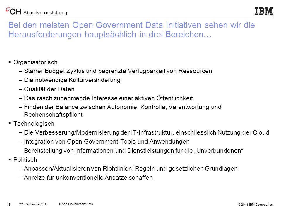 Bei den meisten Open Government Data Initiativen sehen wir die Herausforderungen hauptsächlich in drei Bereichen…