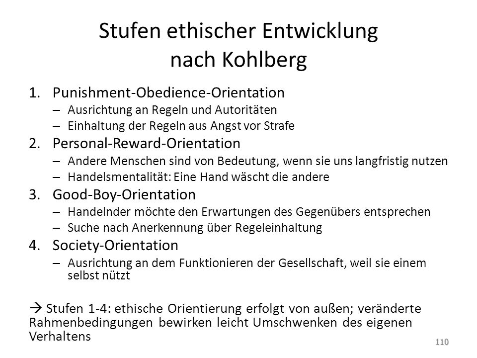Stufen ethischer Entwicklung nach Kohlberg