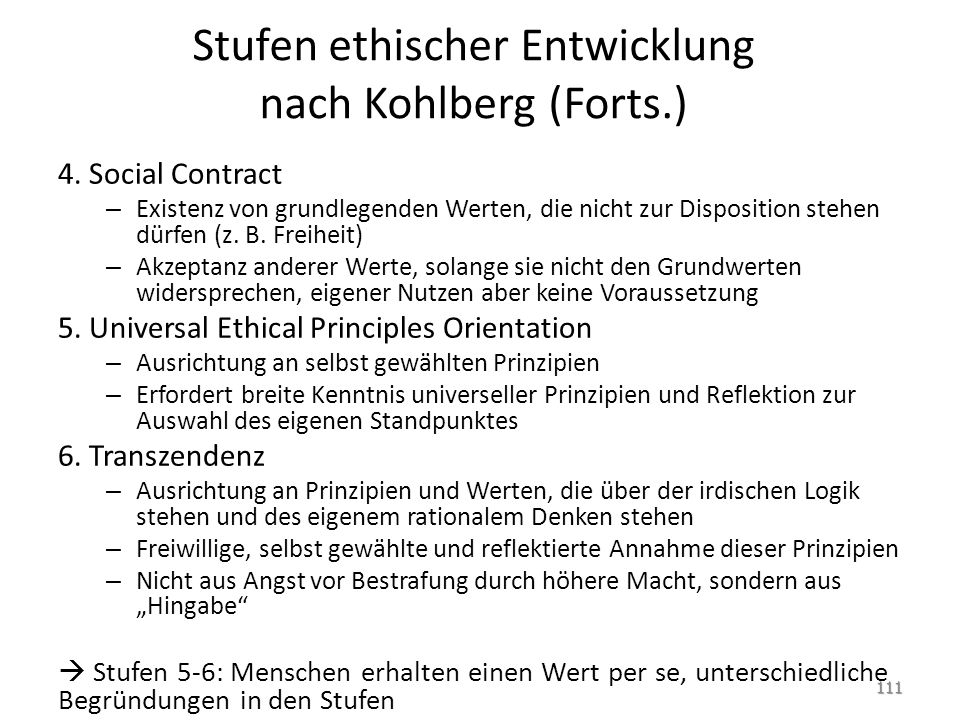 Stufen ethischer Entwicklung nach Kohlberg (Forts.)