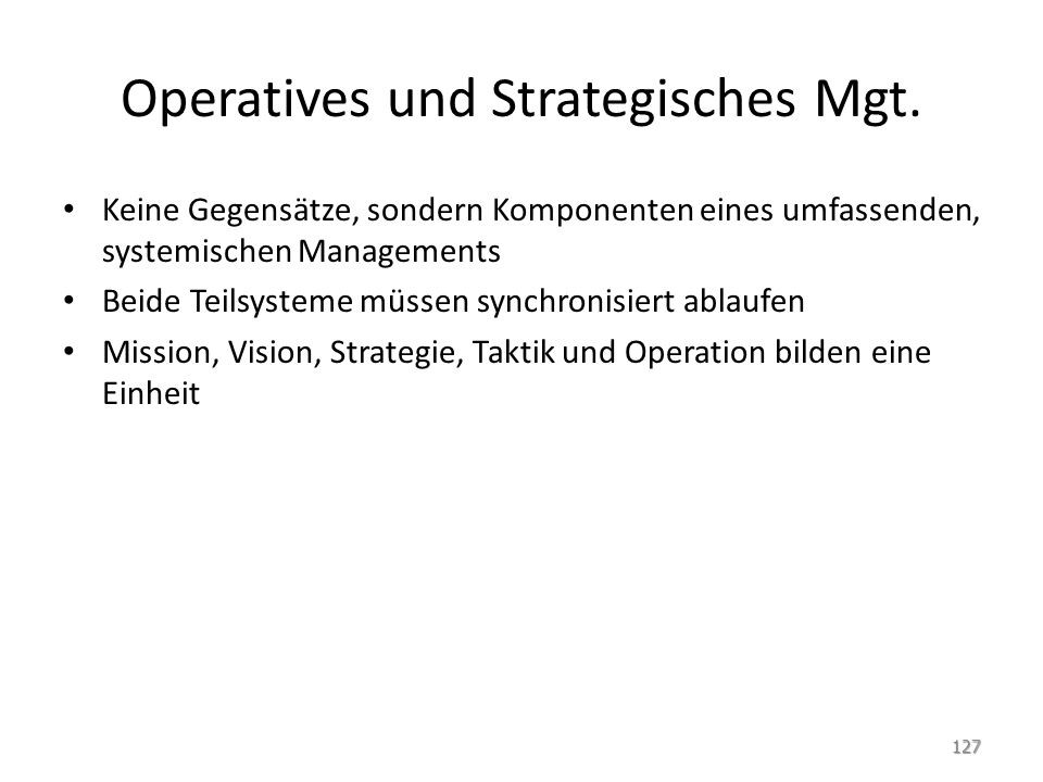 Operatives und Strategisches Mgt.