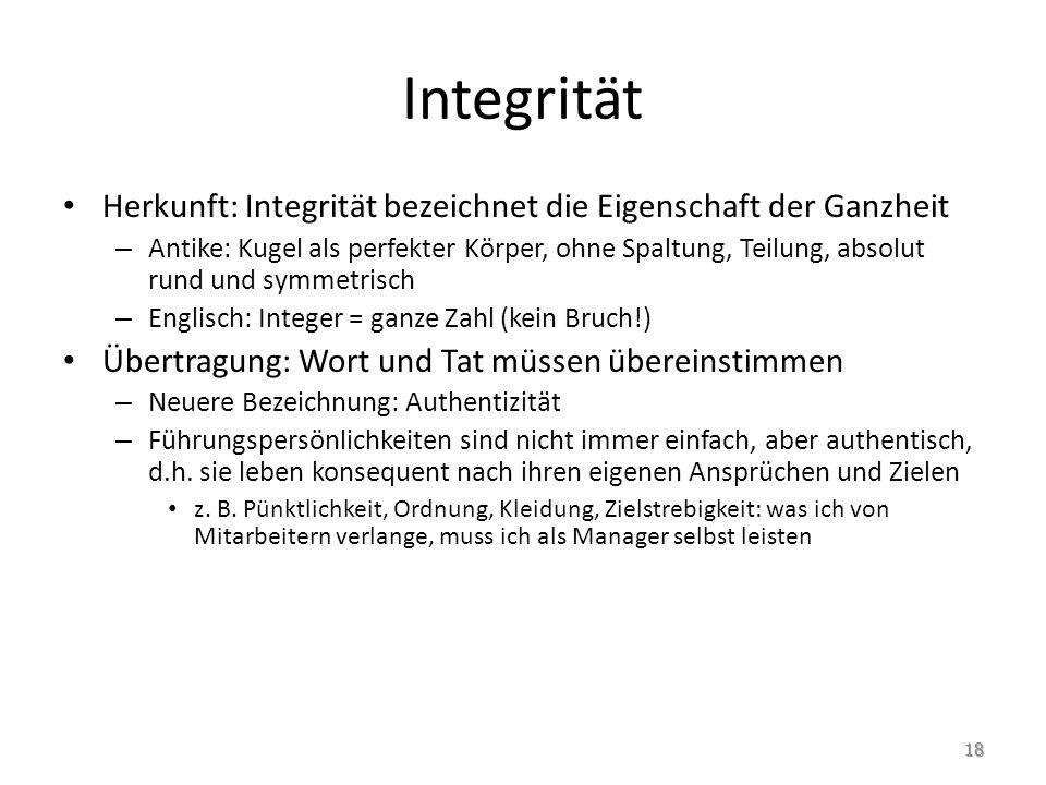 Integrität Herkunft: Integrität bezeichnet die Eigenschaft der Ganzheit.
