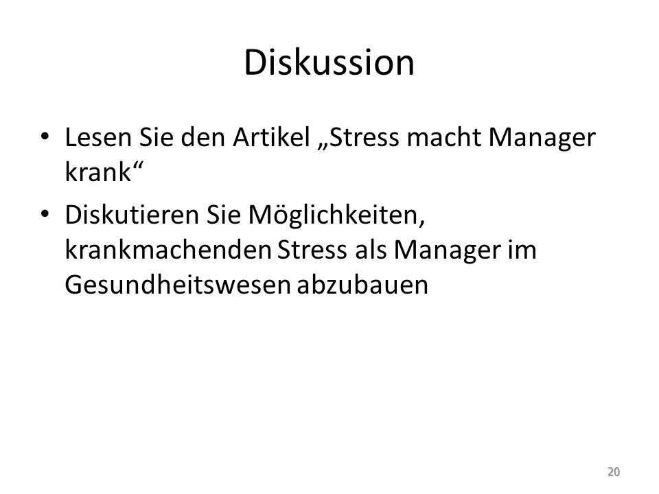 """Diskussion Lesen Sie den Artikel """"Stress macht Manager krank"""