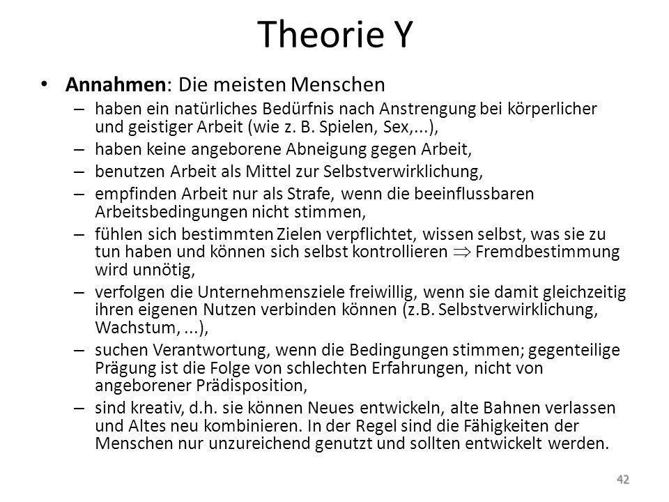 Theorie Y Annahmen: Die meisten Menschen
