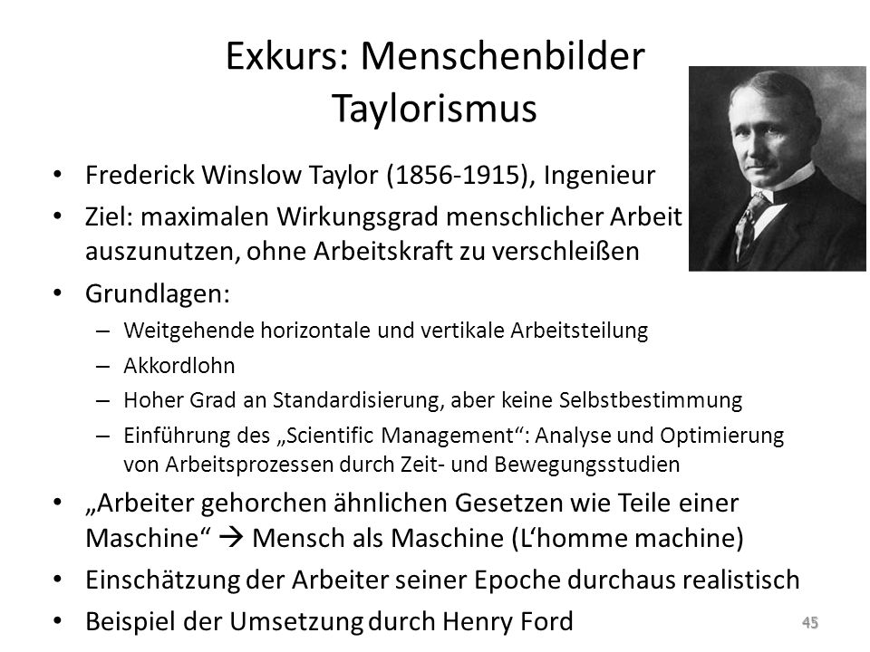Exkurs: Menschenbilder Taylorismus