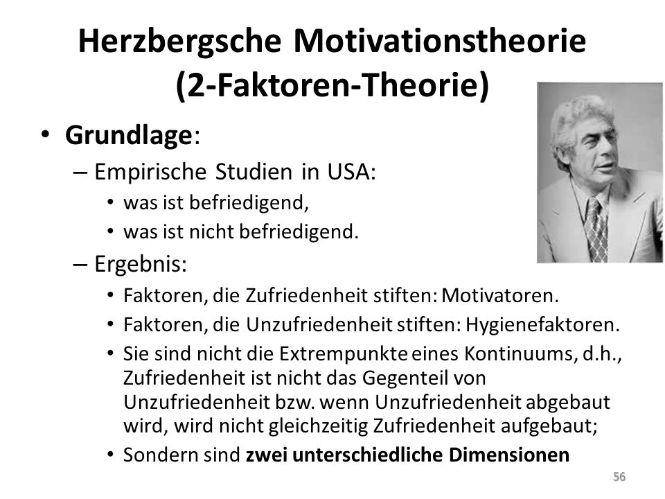 Herzbergsche Motivationstheorie (2-Faktoren-Theorie)