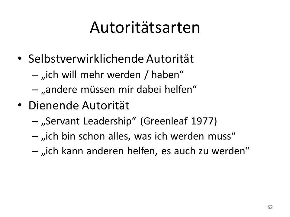 Autoritätsarten Selbstverwirklichende Autorität Dienende Autorität