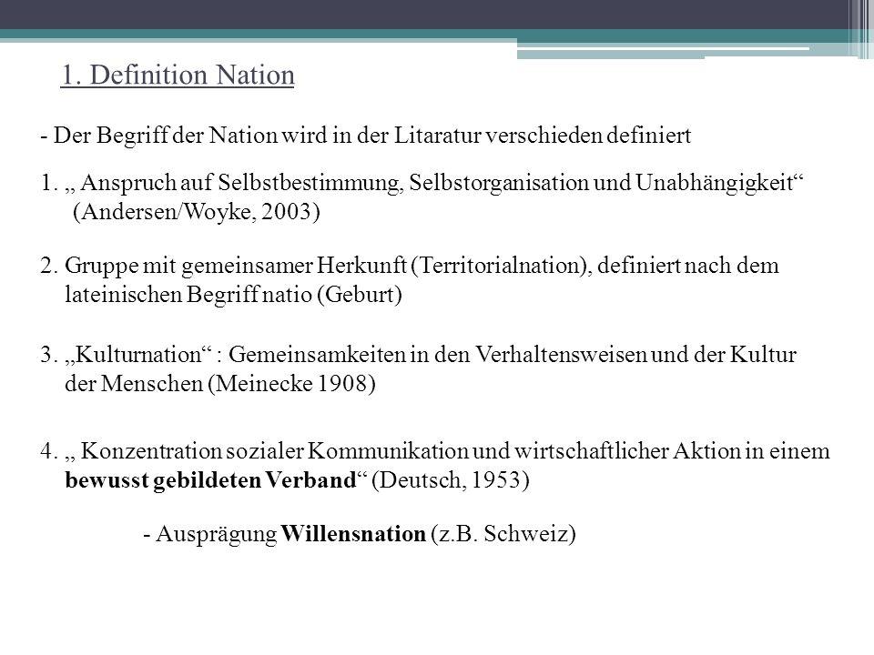 1. Definition Nation - Der Begriff der Nation wird in der Litaratur verschieden definiert.