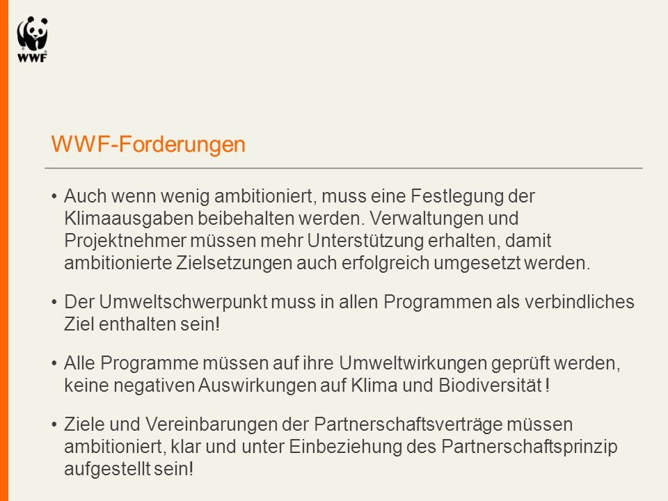 WWF-Forderungen