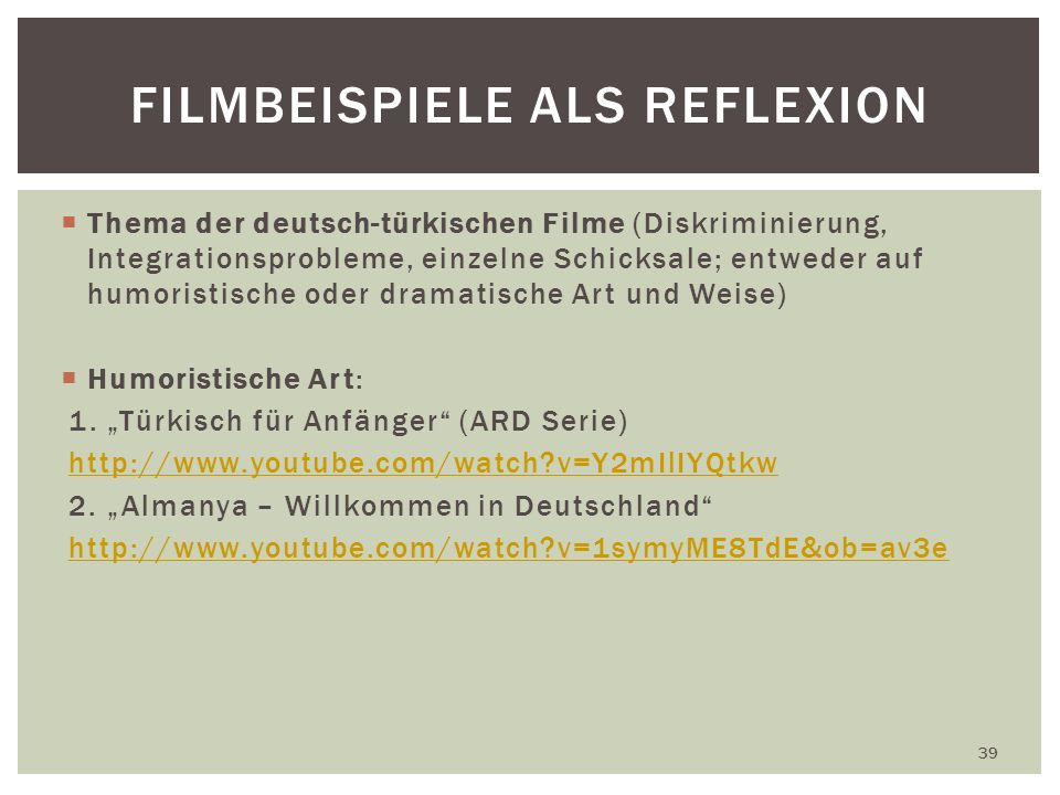 Filmbeispiele Als Reflexion