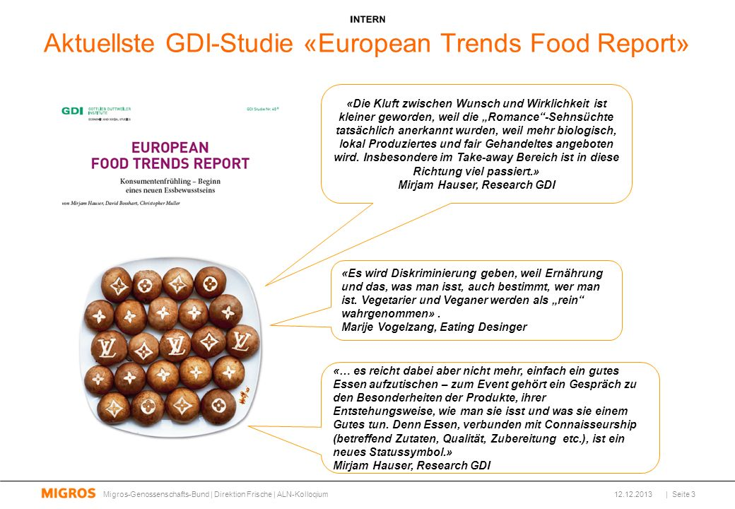 Aktuellste GDI-Studie «European Trends Food Report»