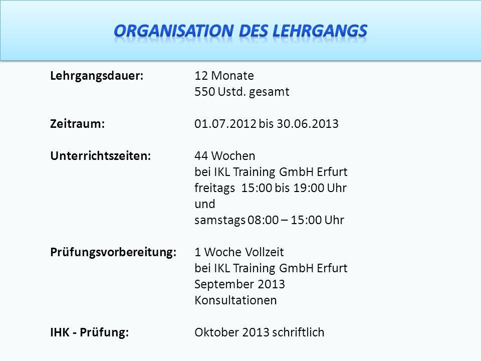 Organisation des Lehrgangs