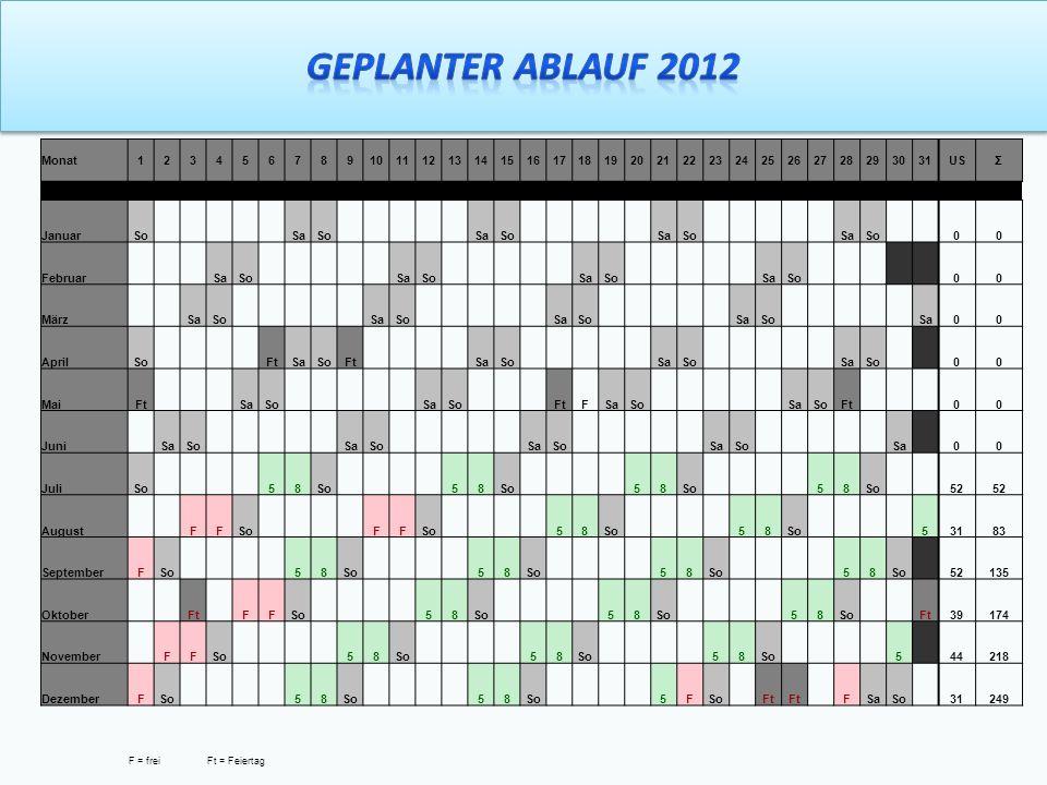 Geplanter Ablauf 2012 Monat 1 2 3 4 5 6 7 8 9 10 11 12 13 14 15 16 17