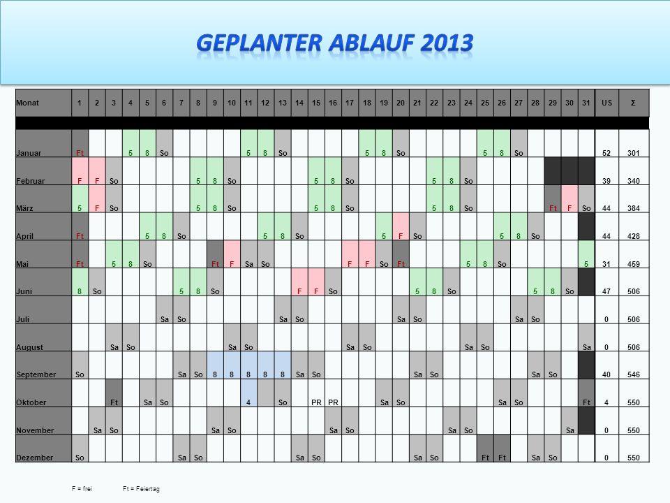 Geplanter Ablauf 2013 Monat 1 2 3 4 5 6 7 8 9 10 11 12 13 14 15 16 17