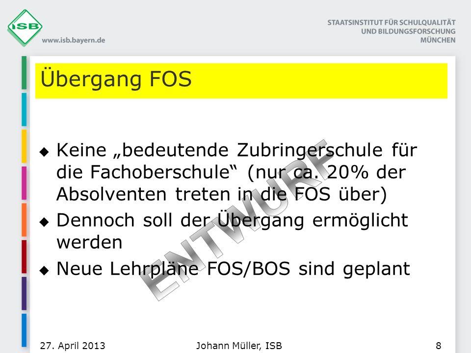 """Übergang FOS Keine """"bedeutende Zubringerschule für die Fachoberschule (nur ca. 20% der Absolventen treten in die FOS über)"""