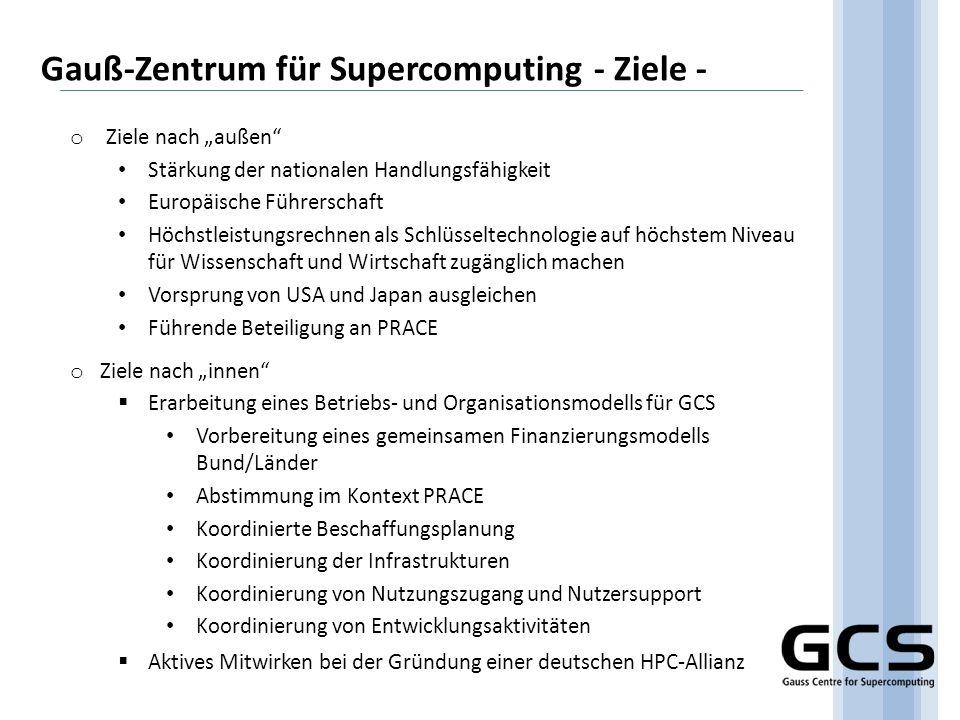 Gauß-Zentrum für Supercomputing - Ziele -