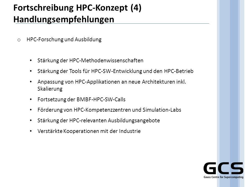 Fortschreibung HPC-Konzept (4) Handlungsempfehlungen
