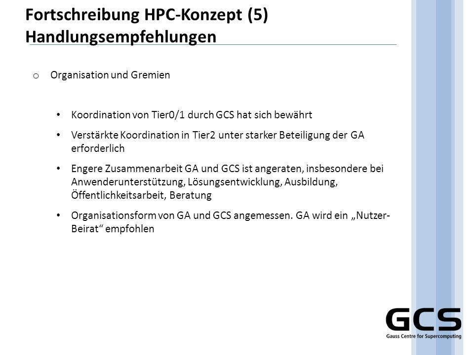 Fortschreibung HPC-Konzept (5) Handlungsempfehlungen