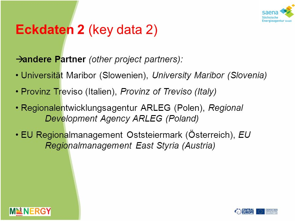 Eckdaten 2 (key data 2) andere Partner (other project partners):