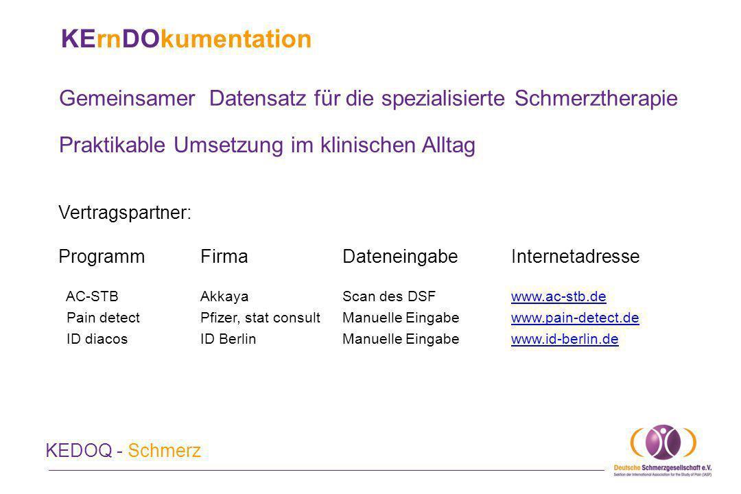 KErnDOkumentation Gemeinsamer Datensatz für die spezialisierte Schmerztherapie. Praktikable Umsetzung im klinischen Alltag.