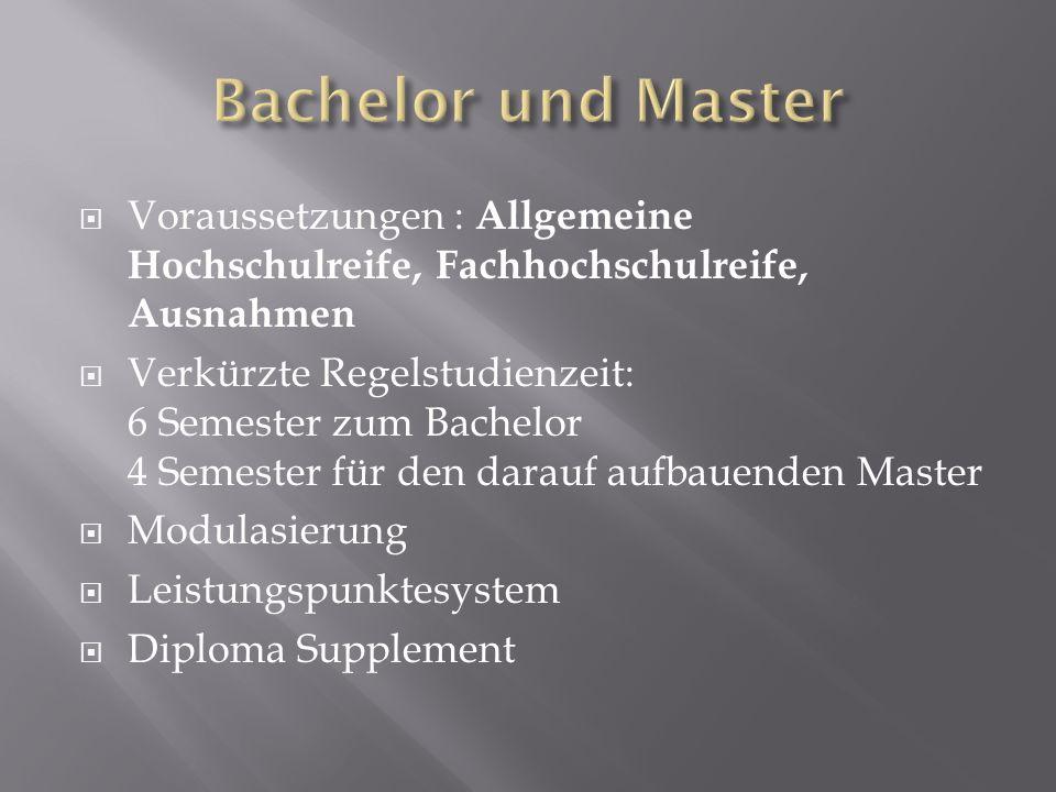 Bachelor und Master Voraussetzungen : Allgemeine Hochschulreife, Fachhochschulreife, Ausnahmen.